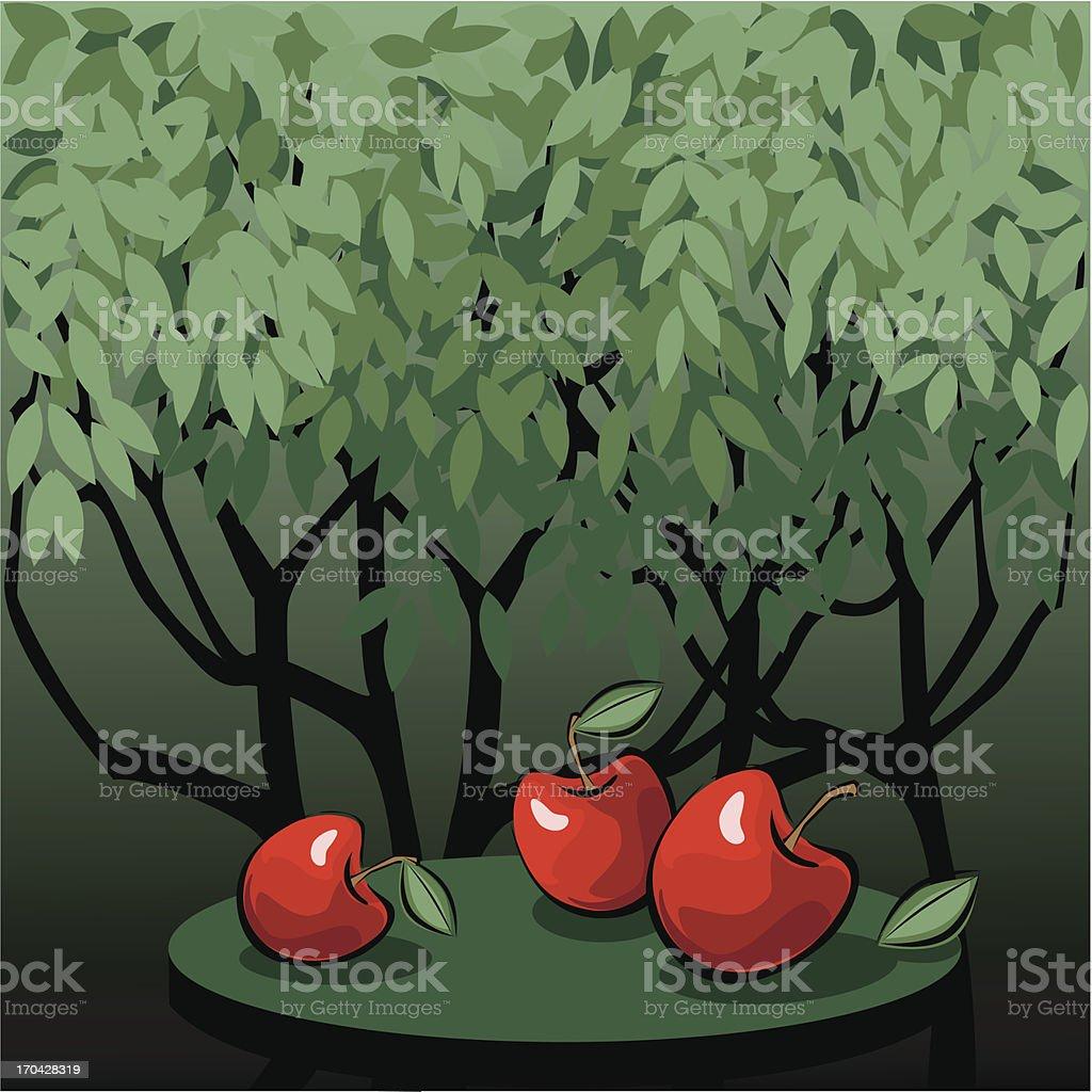 Tasty red apples in the mystic garden vector art illustration
