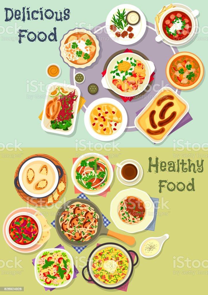 Tasty snacks icon set for menu or cookbook design vector art illustration
