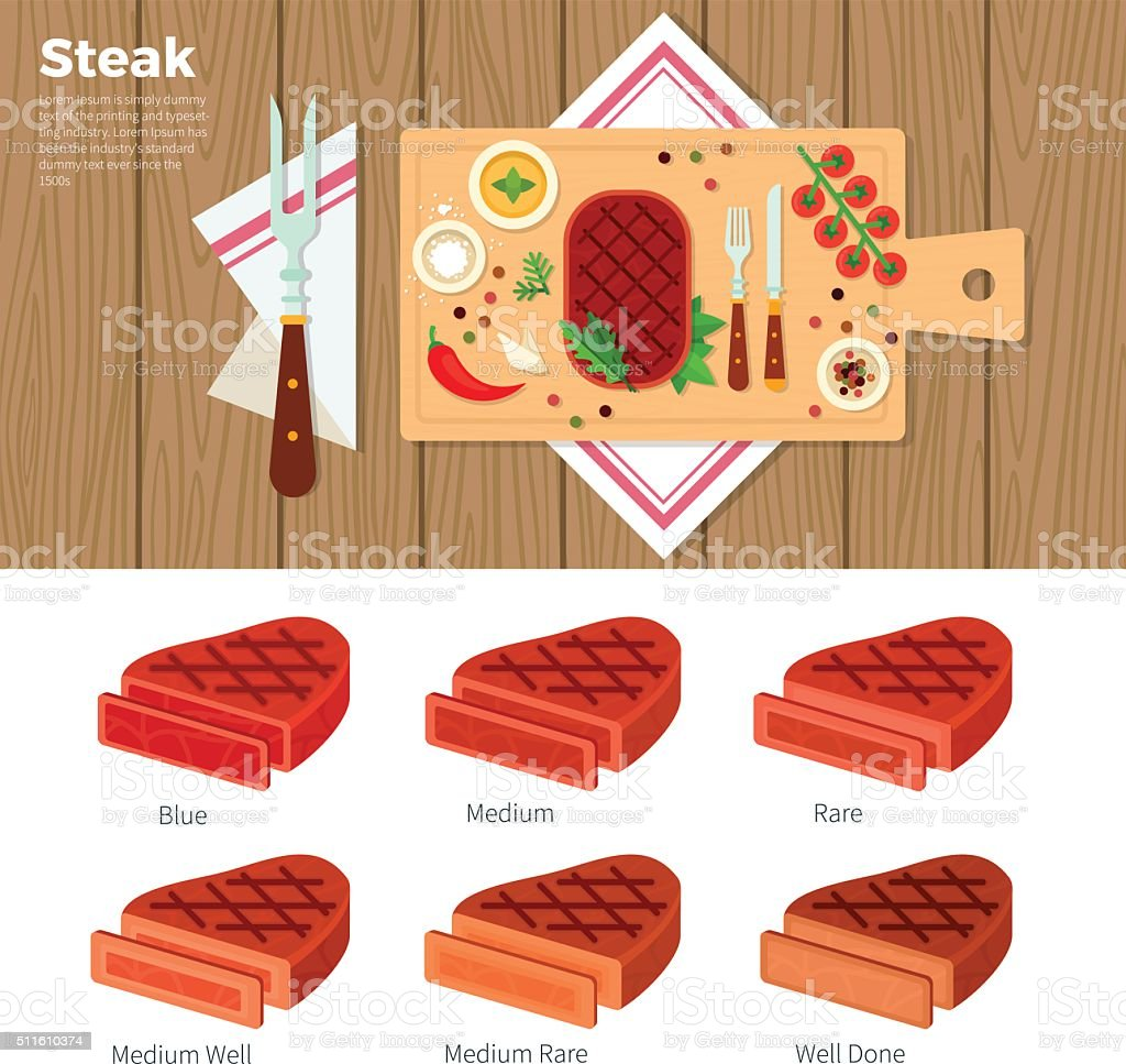 Tasty steak served on the table vector art illustration
