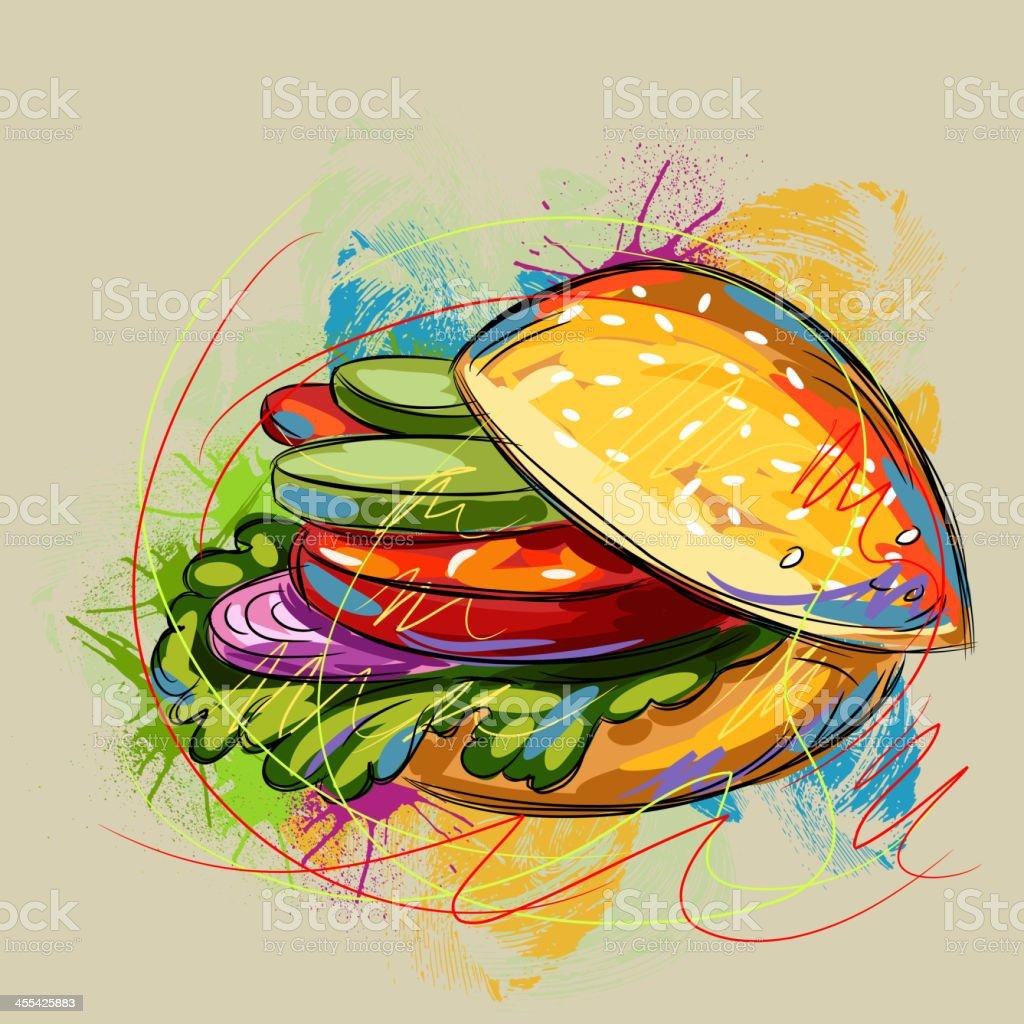 Tasty Vegetable Sandwich vector art illustration