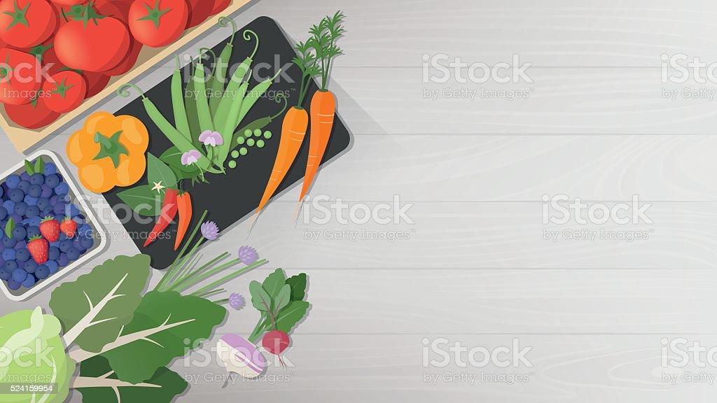 Tasty vegetables vector art illustration