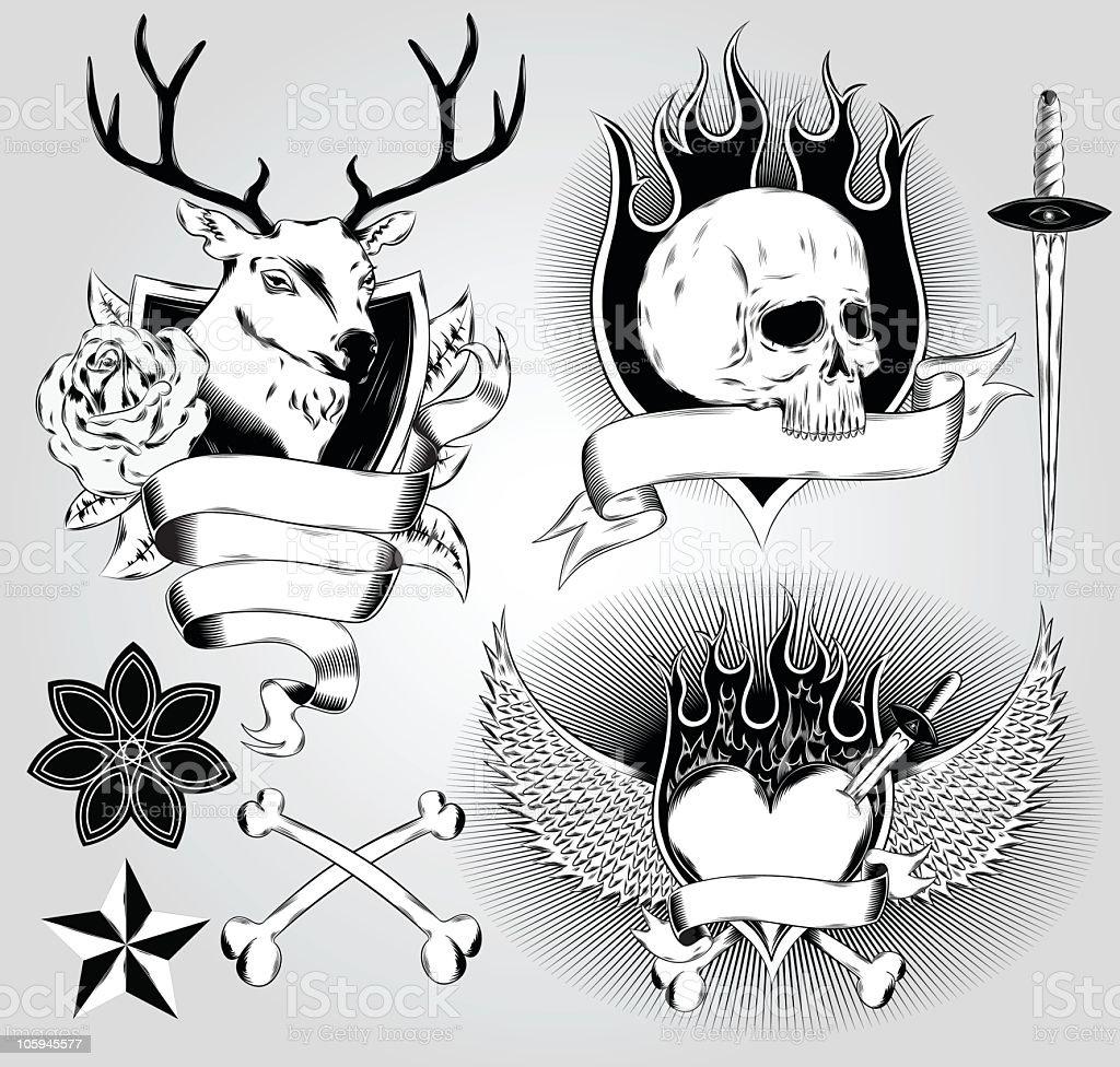 Tatoo design elements vector art illustration