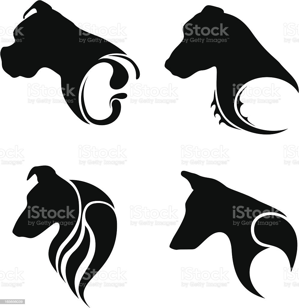 Tatoos - Dogs vector art illustration