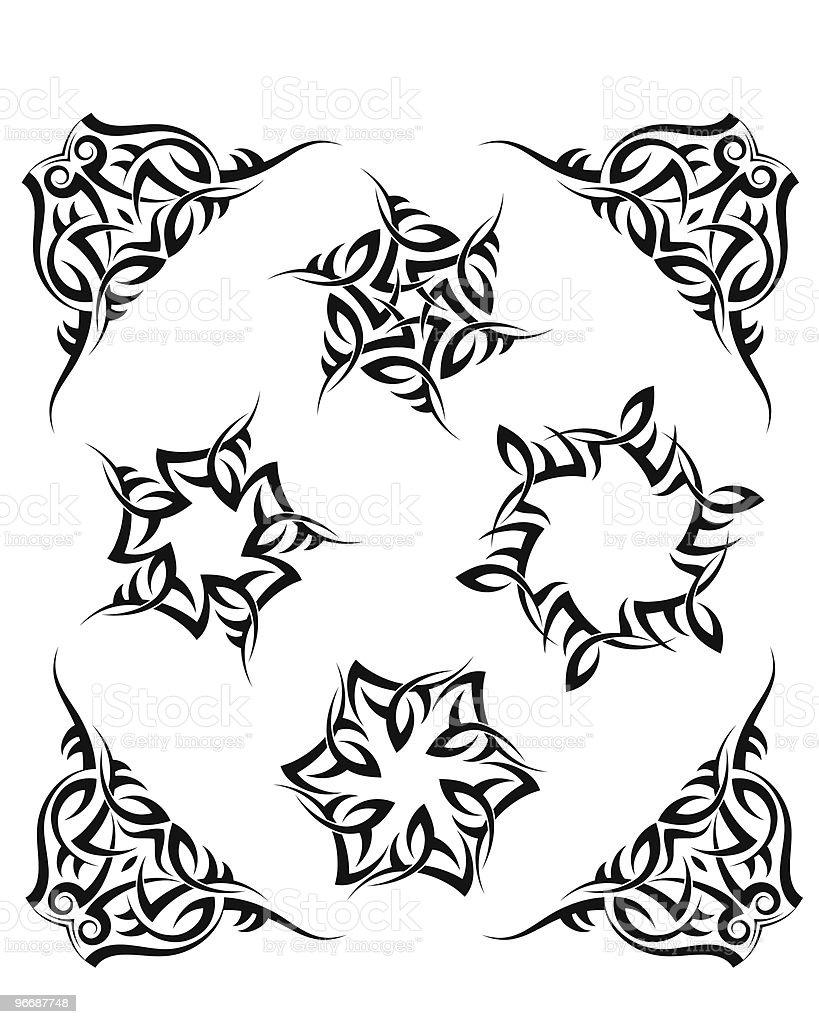 Tatto set frame, corner royalty-free stock vector art