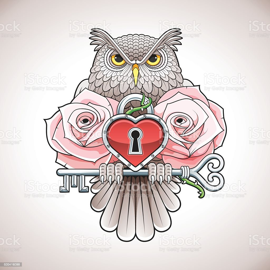 Tattoo design of owl holding key with heart locket, roses vector art illustration