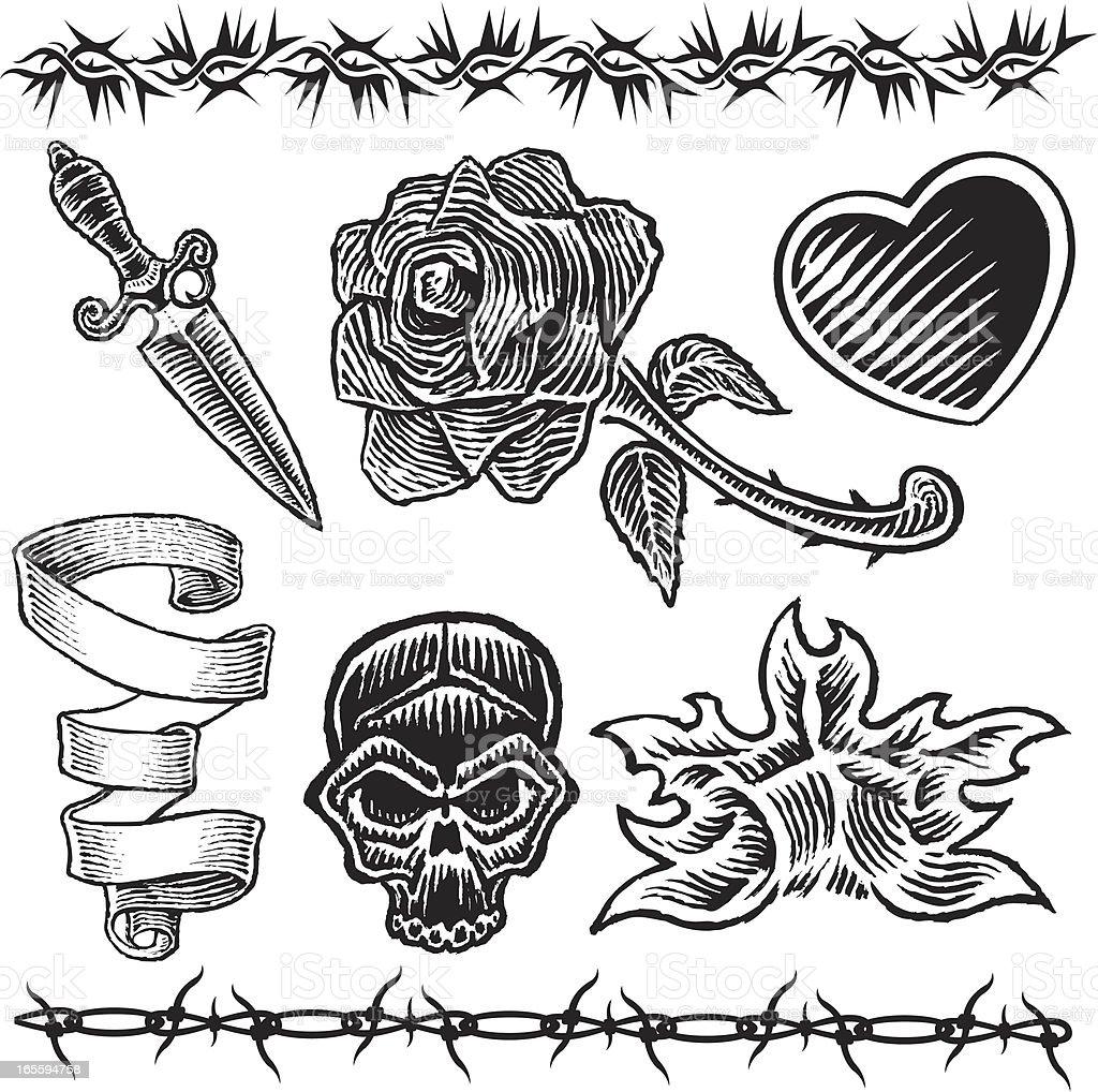 Tattoo Designs Heart Knife Rose Flame vector art illustration