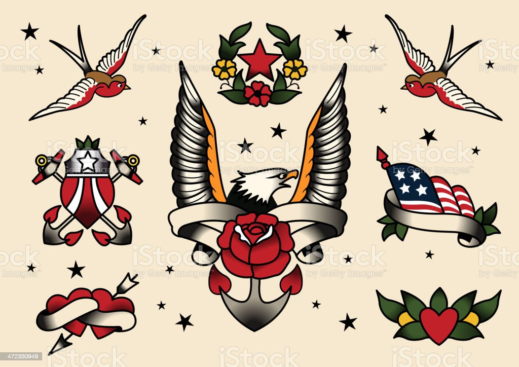 Tattoo Flash Set vector art illustration