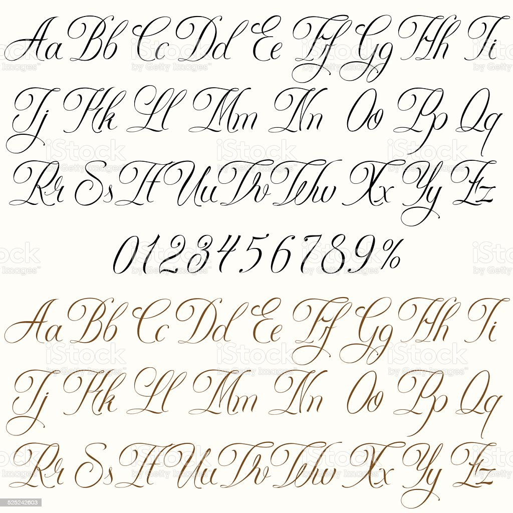 Tattoo font vector art illustration