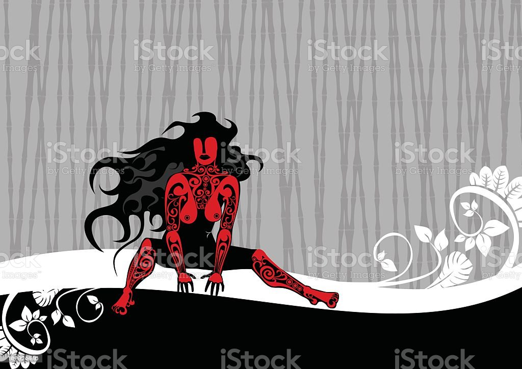 tattoo girl on bambook background royalty-free stock vector art