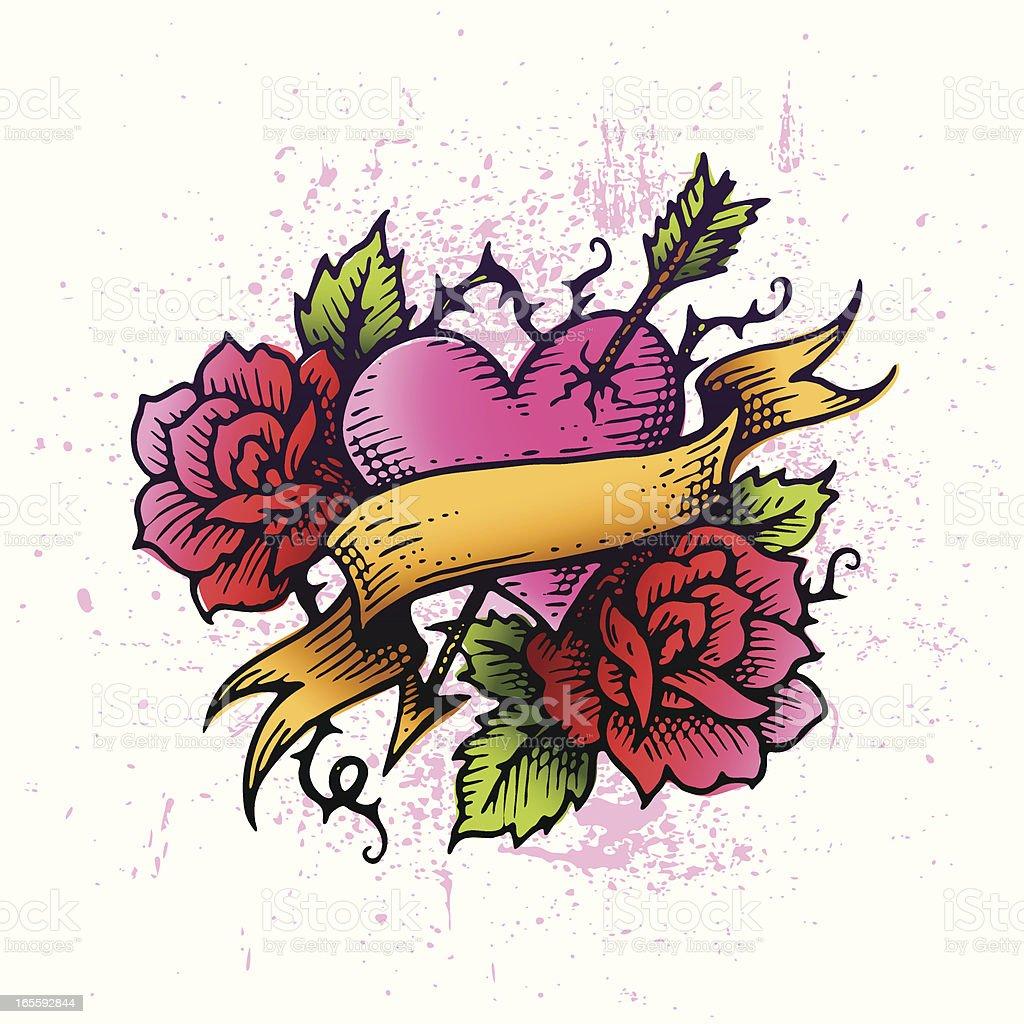 Tattoo Heart vector art illustration