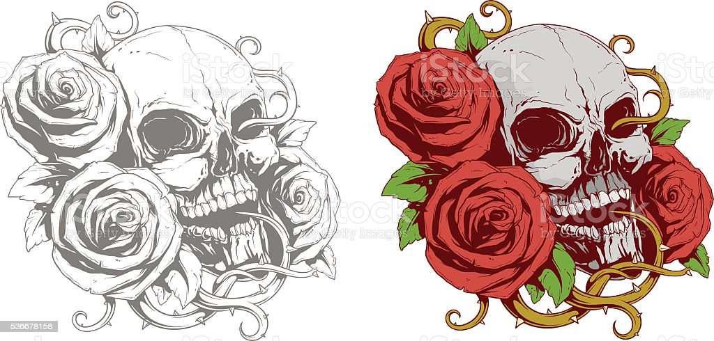 Tattoo of human skull with red roses vector art illustration