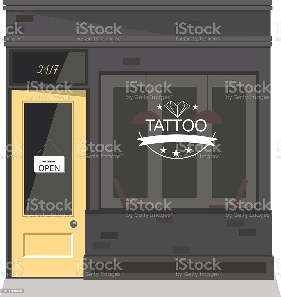 Tattoo parlor facade,shop. Vector flat illustration. vector art illustration