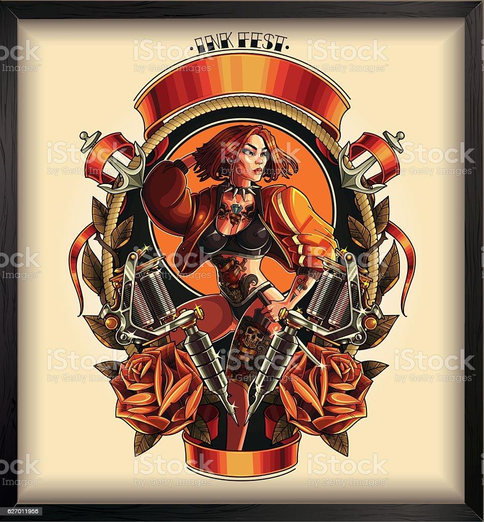 Tattoo pin up poster vector art illustration