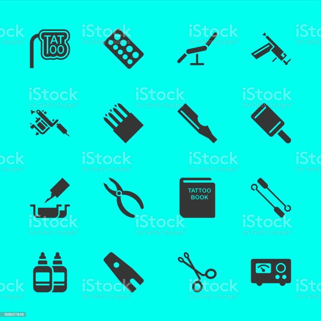 Tattoo Shop Icons vector art illustration