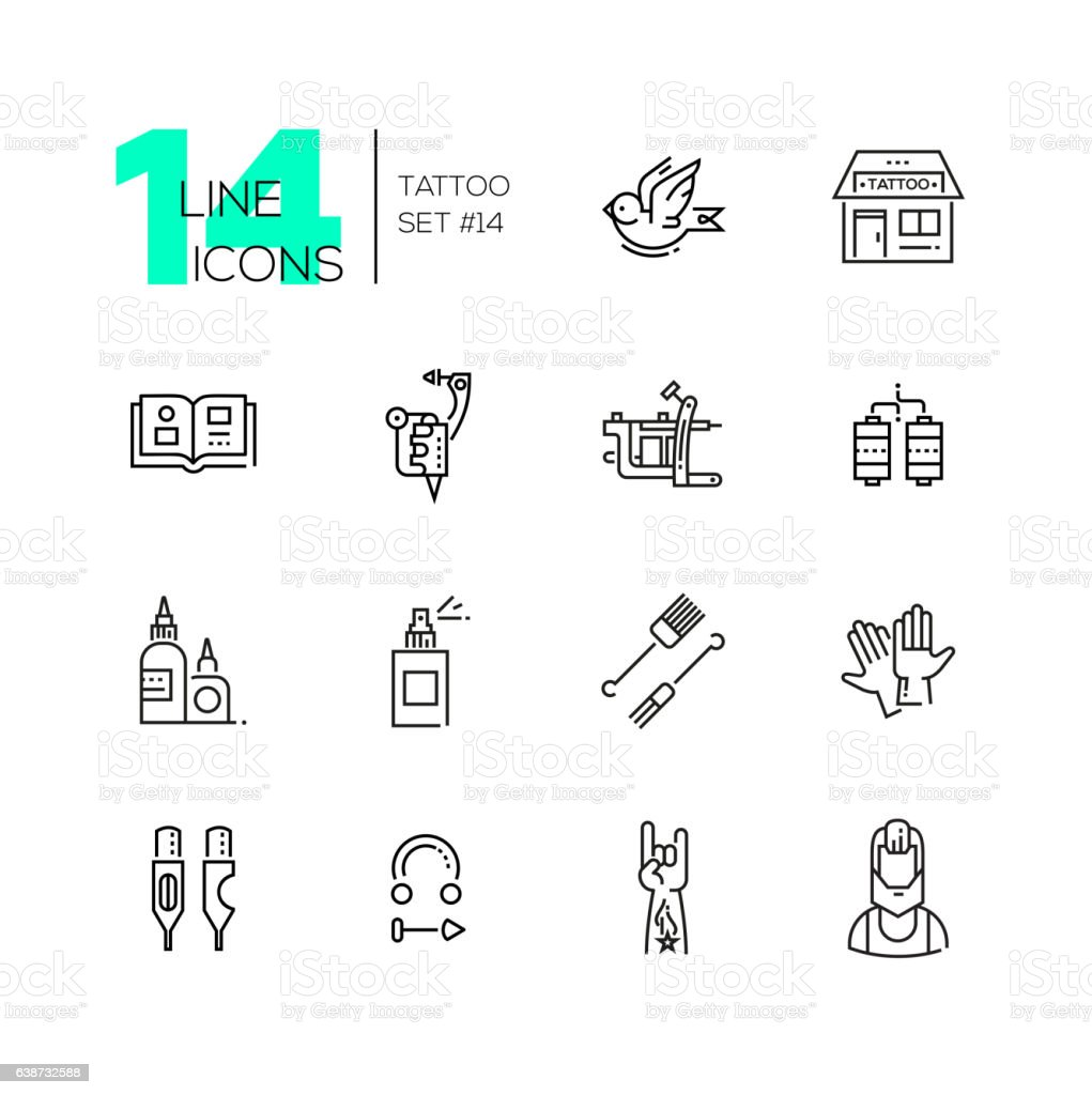 Tattoo Studio - line icons set vector art illustration