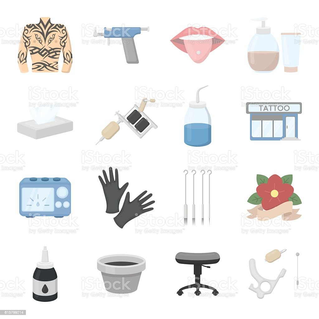 Tattoo studio set icons. Vector collection of tattoo master icons. vector art illustration