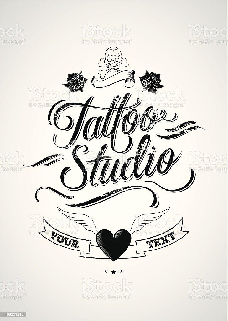 Tattoo studio vector art illustration