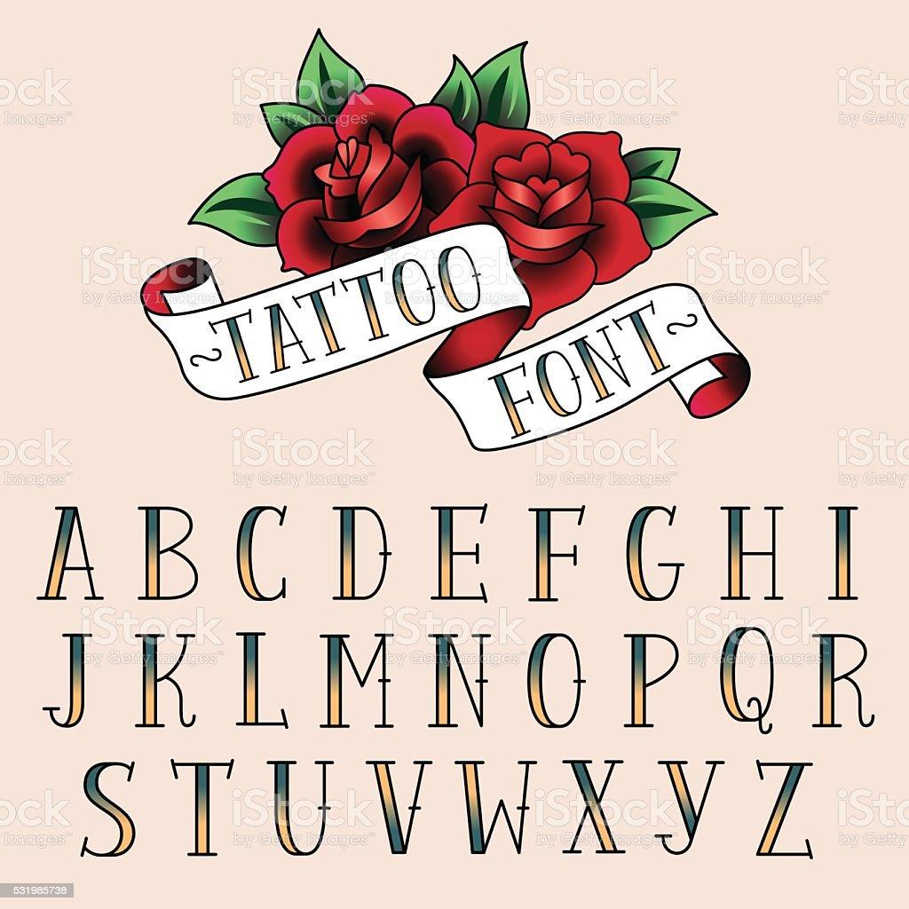 tattoo style alfabeth vector art illustration
