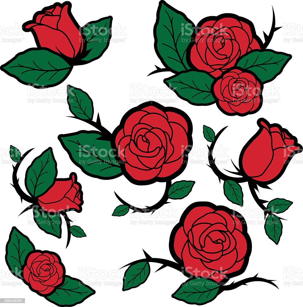 Tattoo style roses and buds vector art illustration