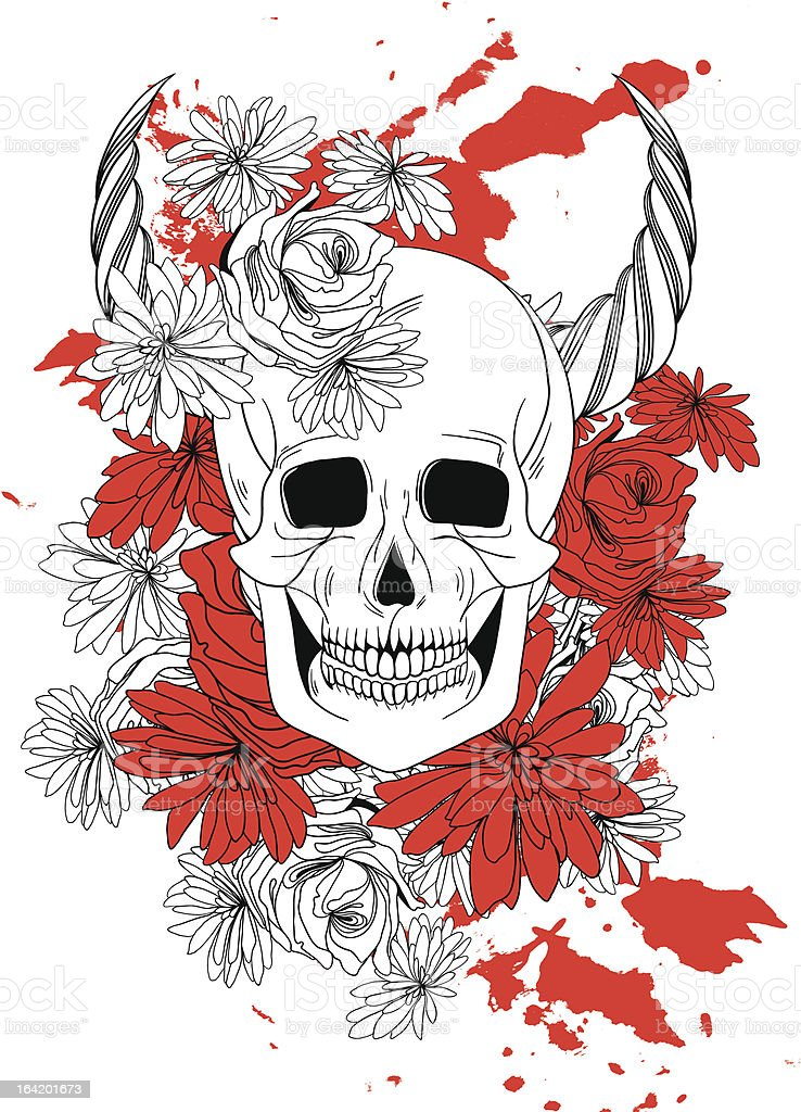 tattoo with skull, horns, flowers and blood royalty-free stock vector art