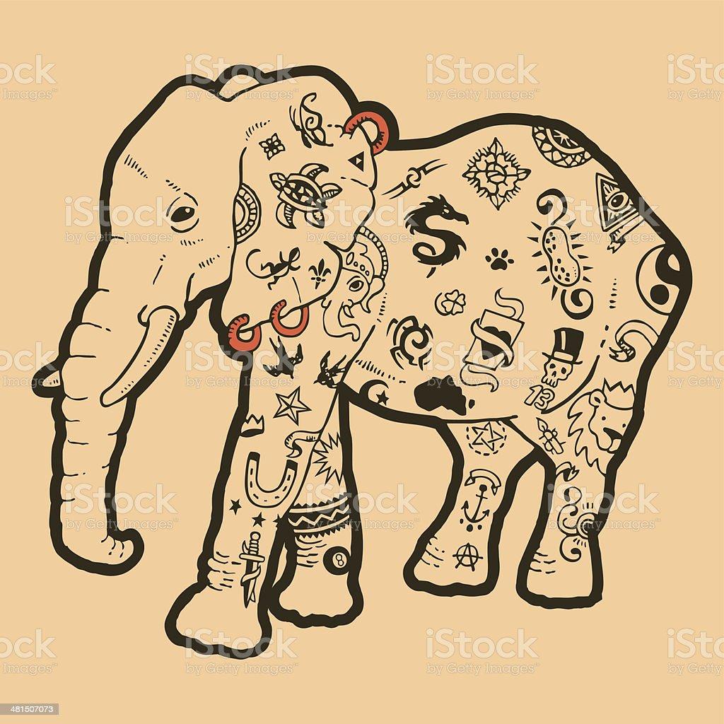 tattooed elephant vector art illustration