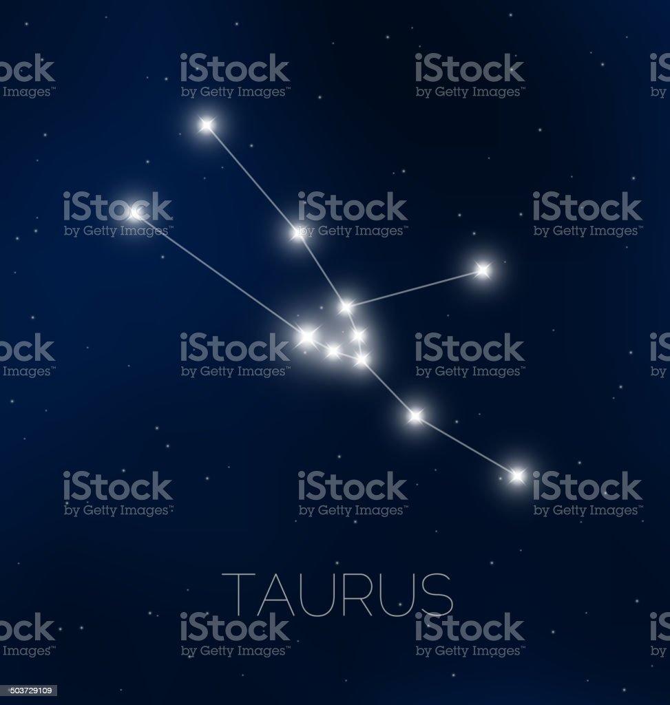 Taurus constellation in night sky royalty-free stock vector art