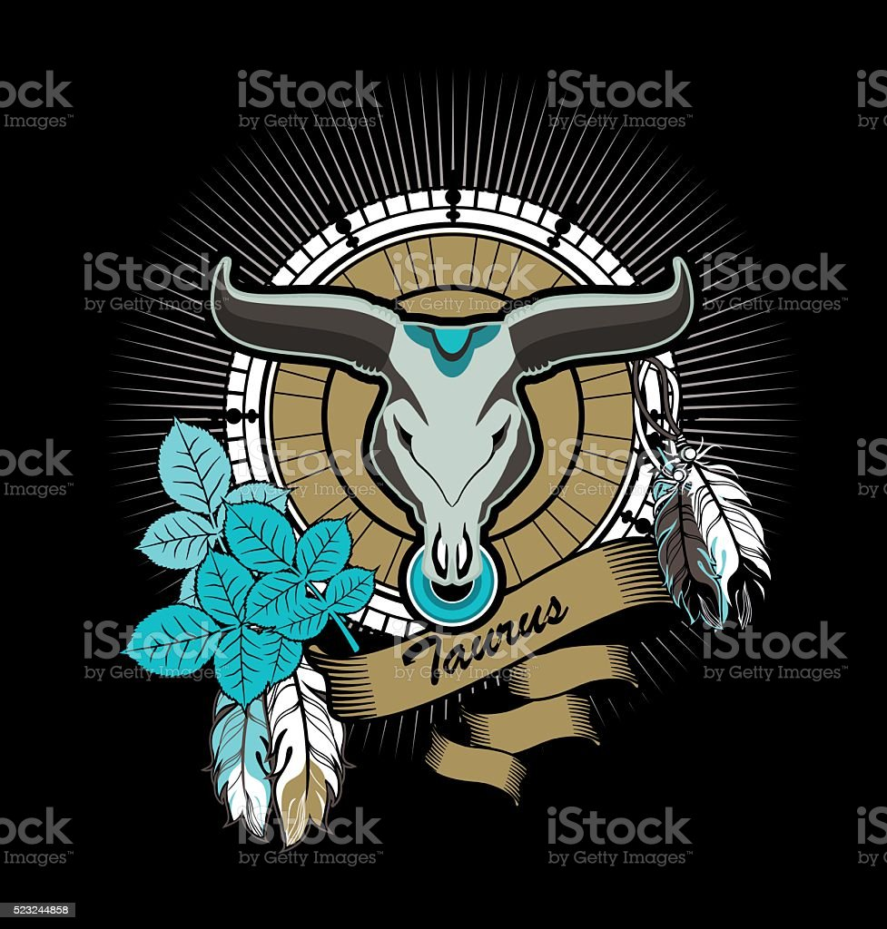 Taurus zodiac sign vector art illustration