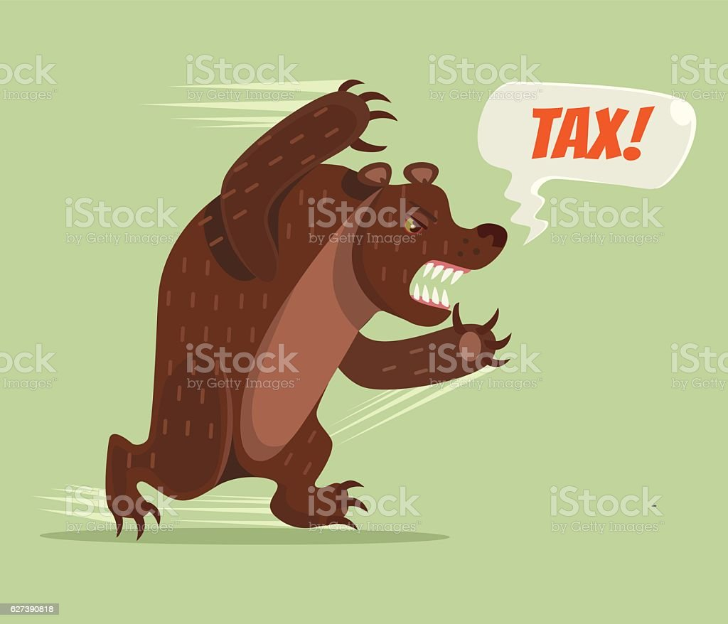 Tax bear character run. Vector flat cartoon illustration vector art illustration