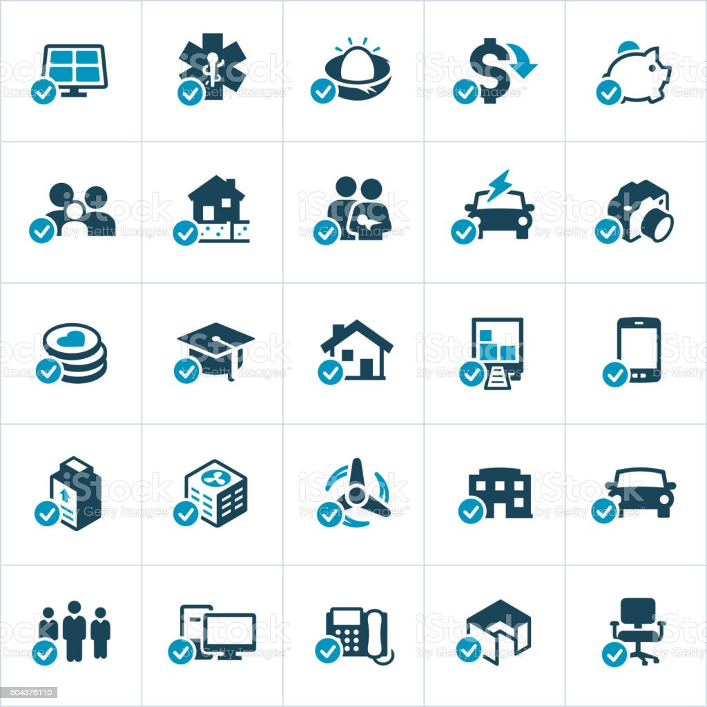 Tax Credits and Deductions Icons vector art illustration