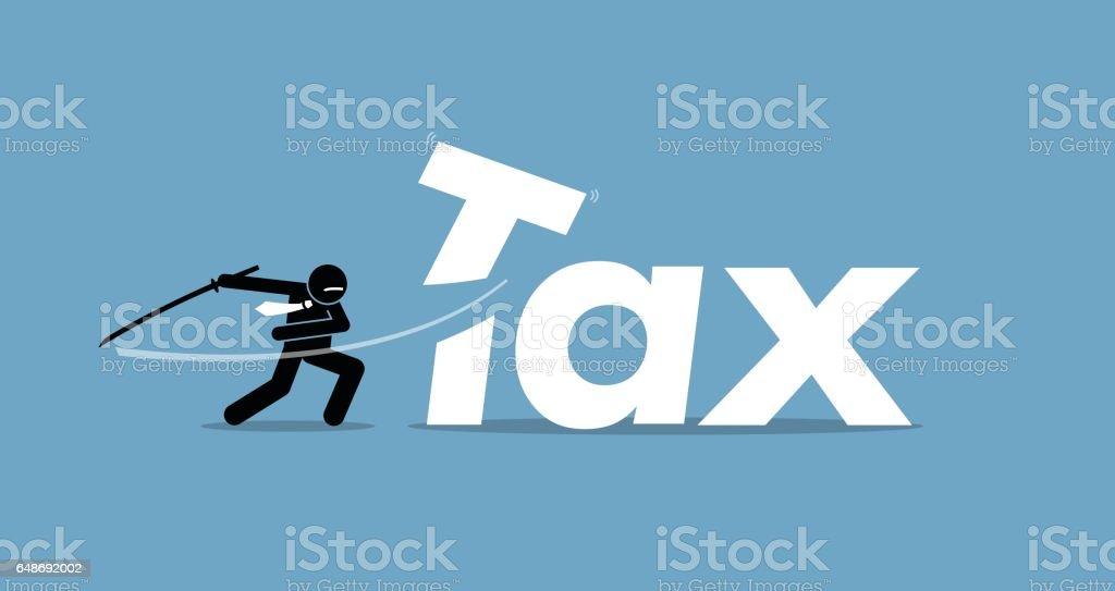 Tax cut by businessman. vector art illustration