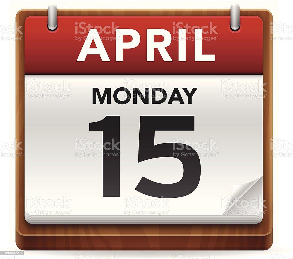Tax Day Calendar vector art illustration