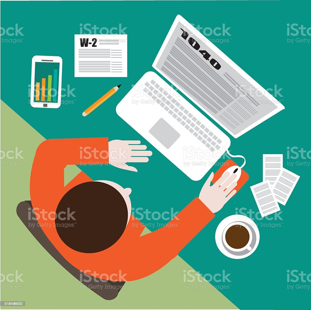 Tax day flat design. Filling out tax forms vector art illustration