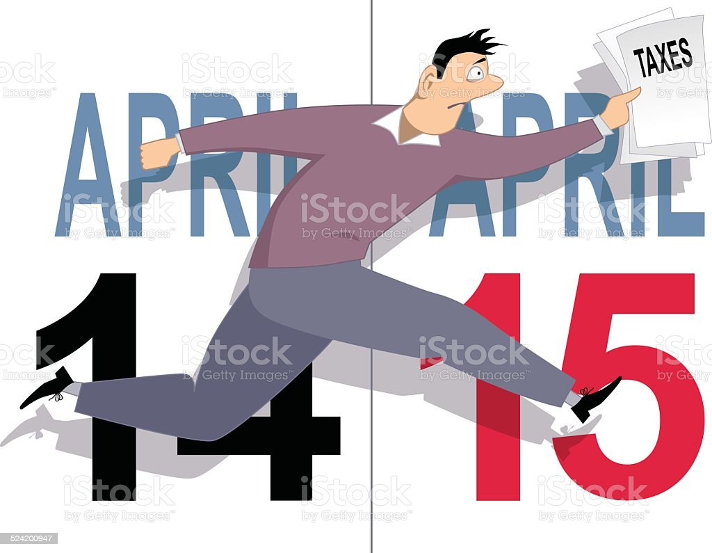Tax day in USA vector art illustration