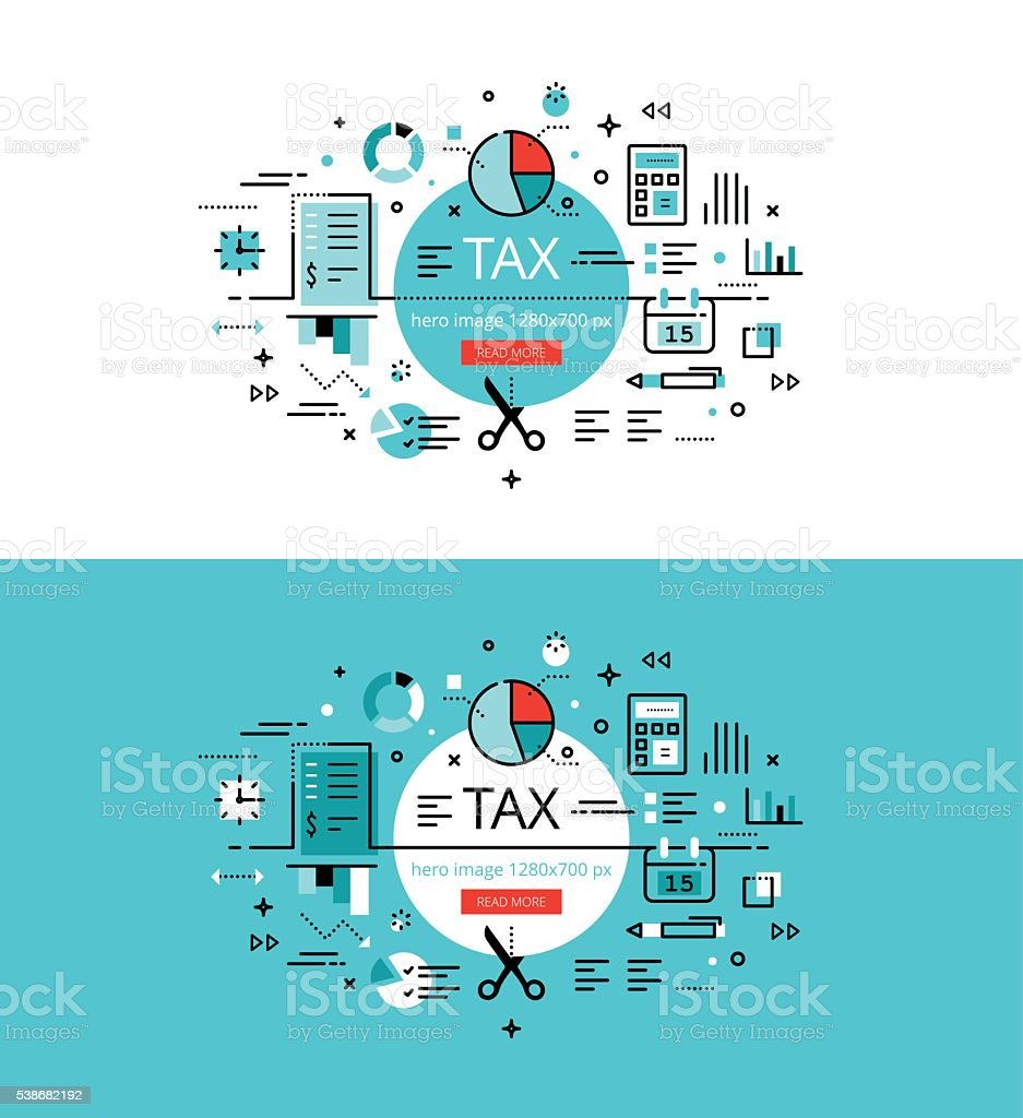 Tax. Flat linear hero images and hero banners design concept vector art illustration