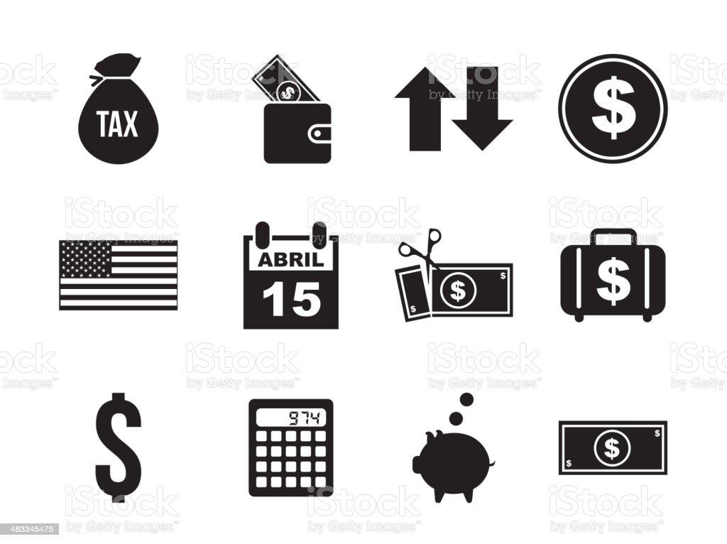 tax icons vector art illustration