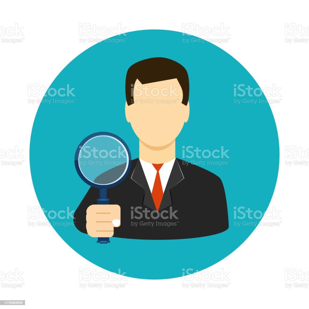Tax inspector icon flat style vector art illustration