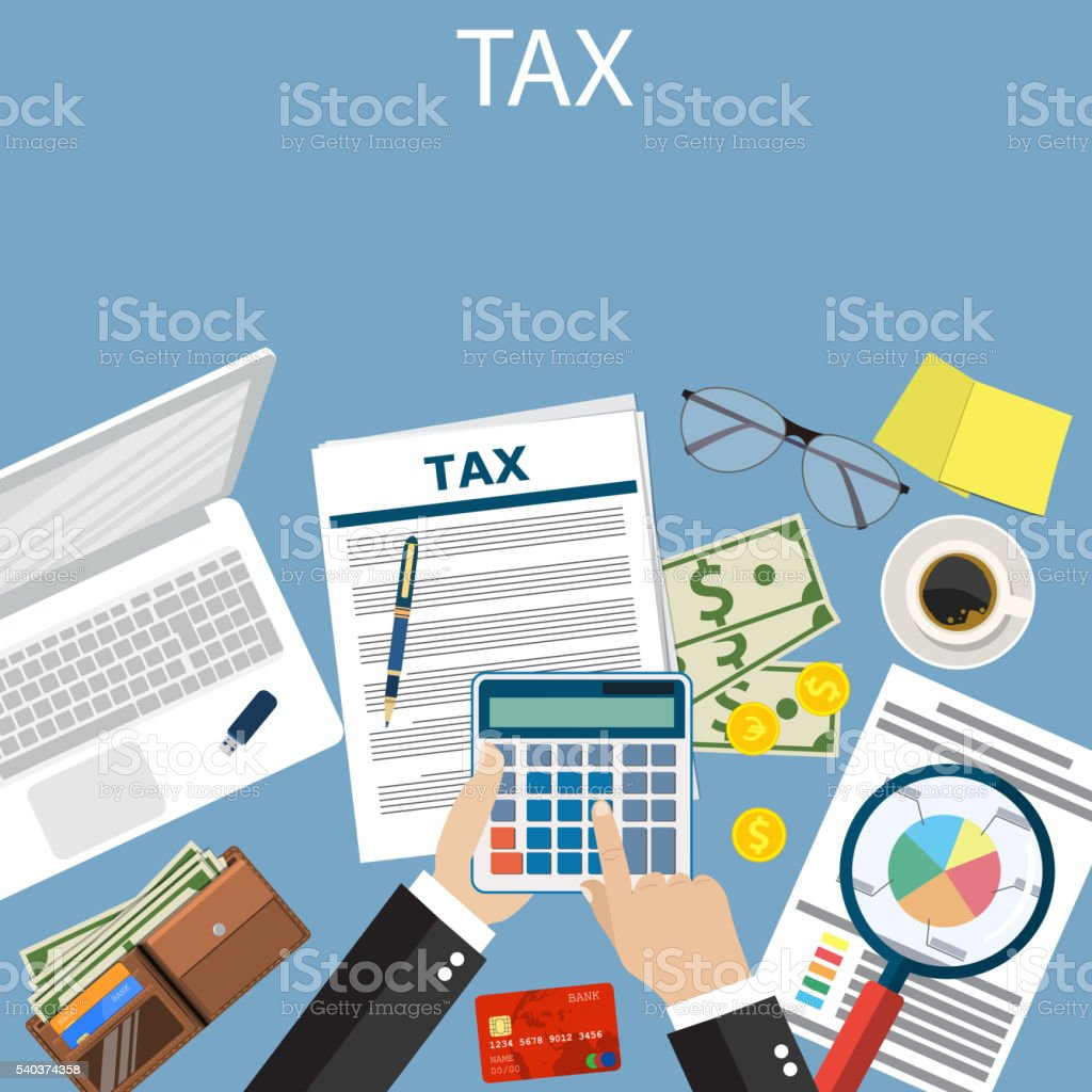 Tax payment. Government taxes. vector art illustration