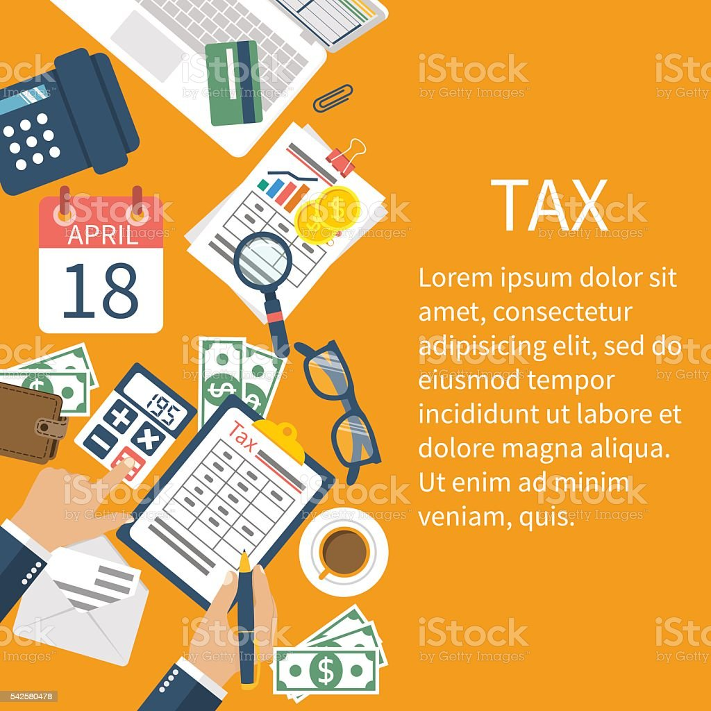 Tax payment. Government taxes vector art illustration
