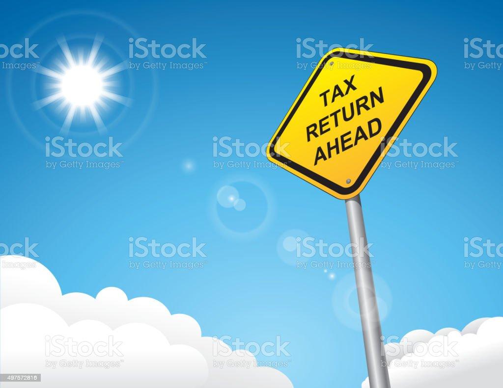 Tax return road sign vector art illustration