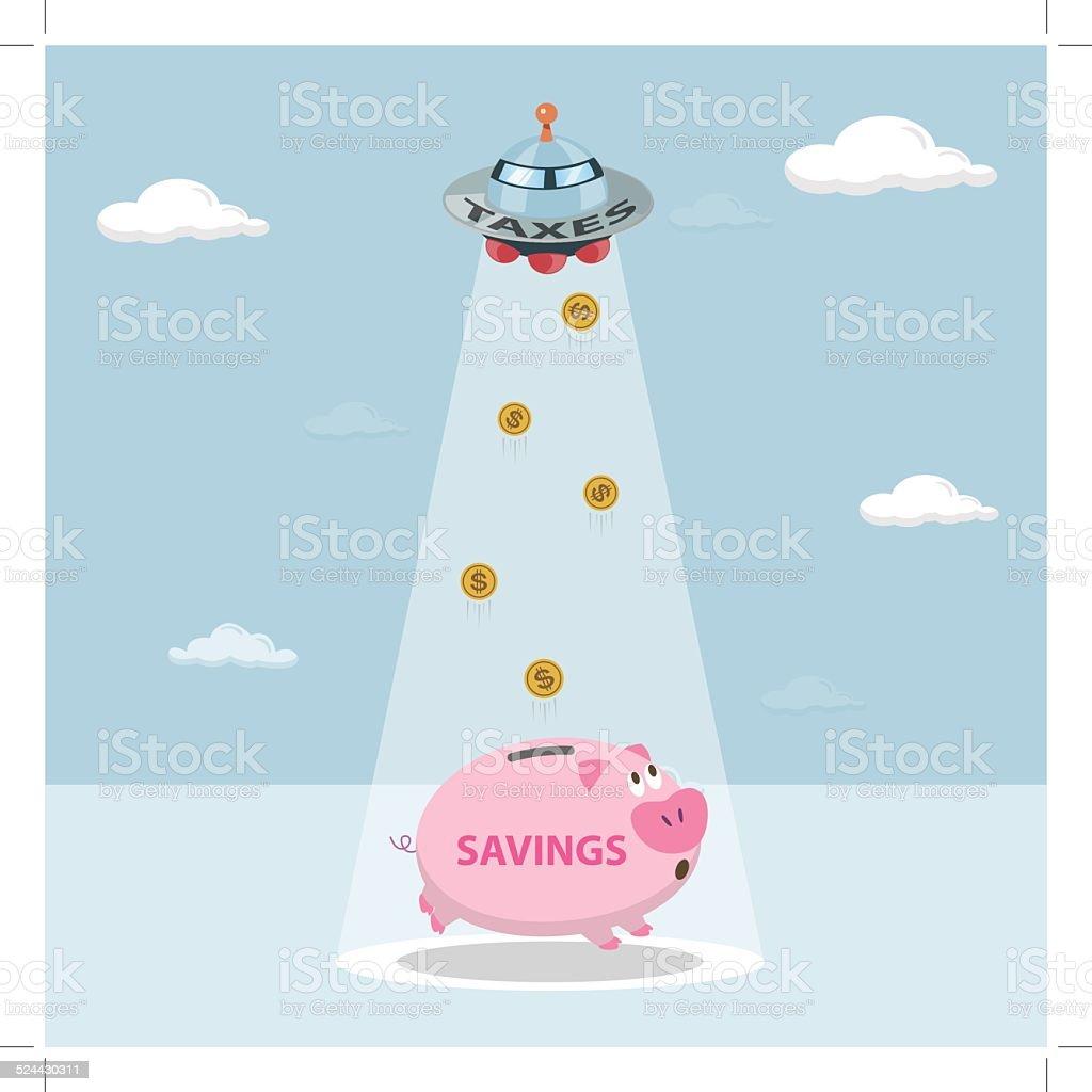 UFO tax savings are drawn from my savings. royalty-free stock vector art