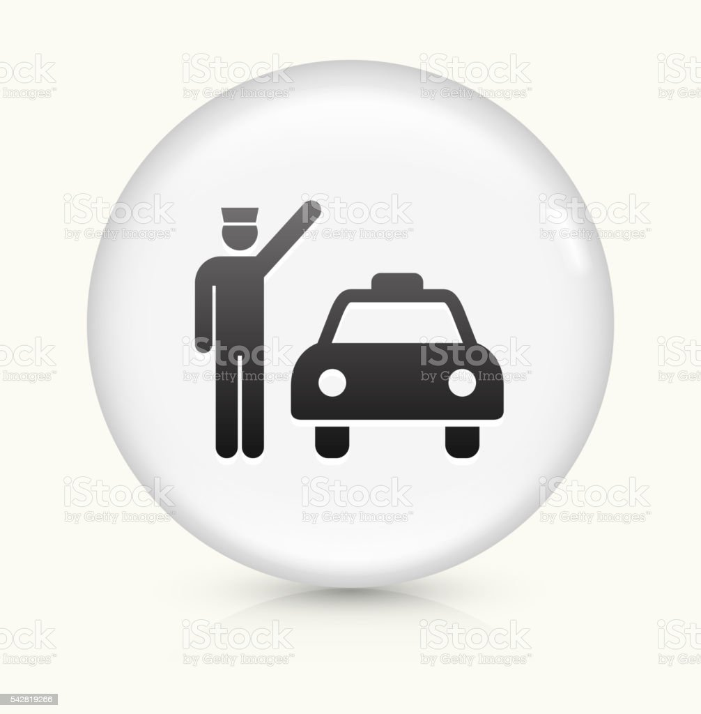 Taxi and Driver icon on white round vector button vector art illustration