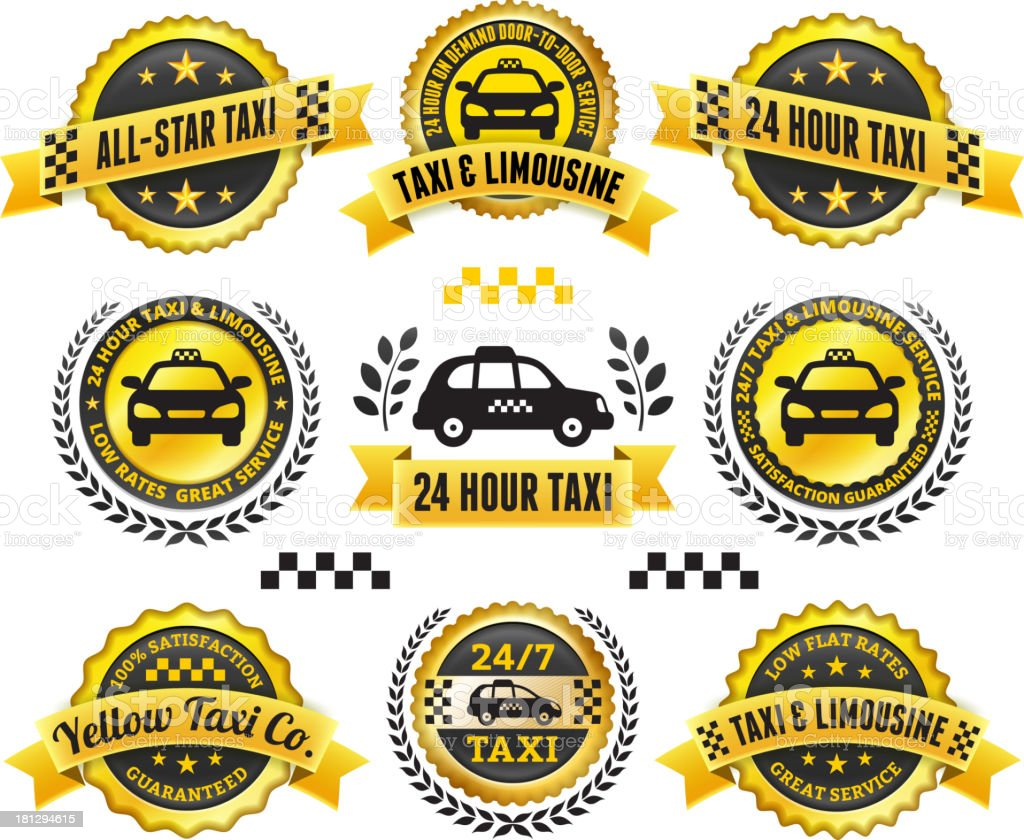 Taxi and Limousine Black & Gold Badge Set royalty-free stock vector art