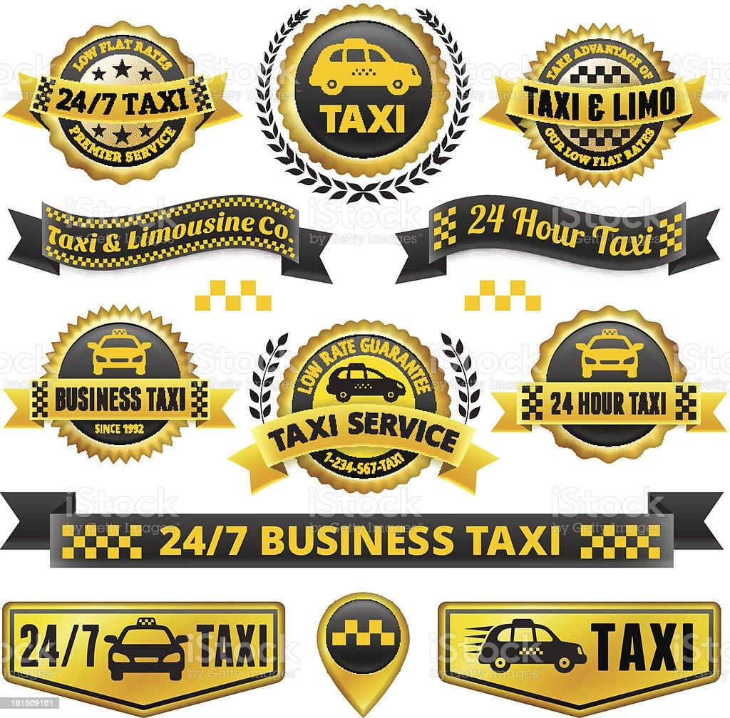 Taxi and Limousine Black & Gold Badge Set vector art illustration