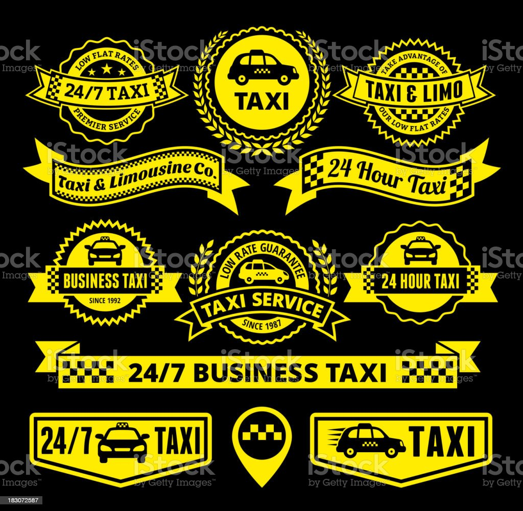 Taxi and Limousine Services Badge Set royalty-free stock vector art