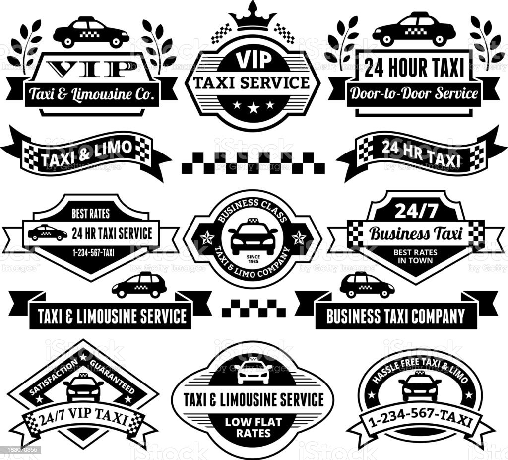 Taxi and Limousine Services on Black & White Set vector art illustration