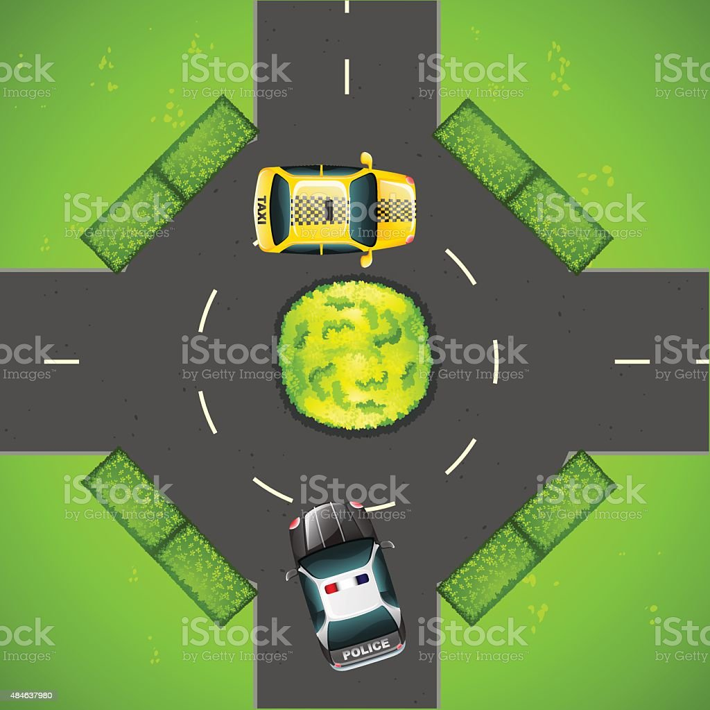 Taxi and police car on the road vector art illustration