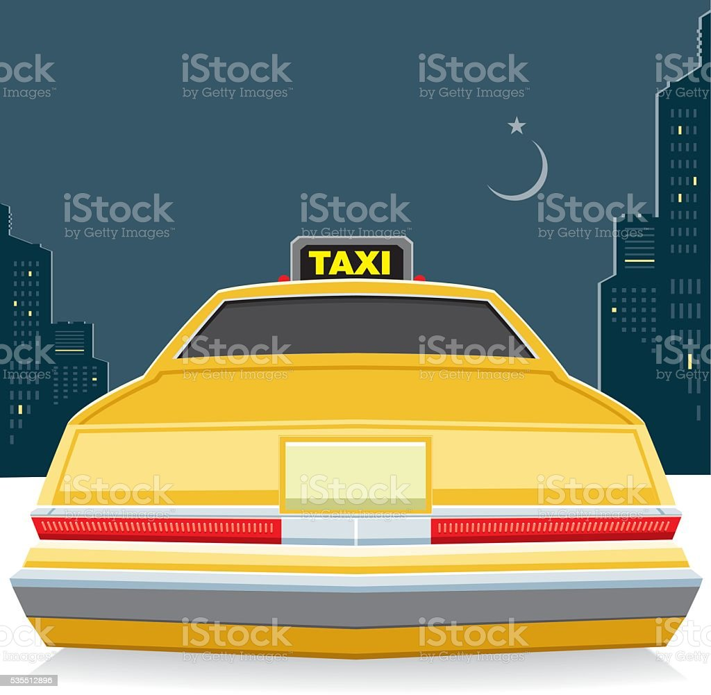 Taxi at night vector art illustration