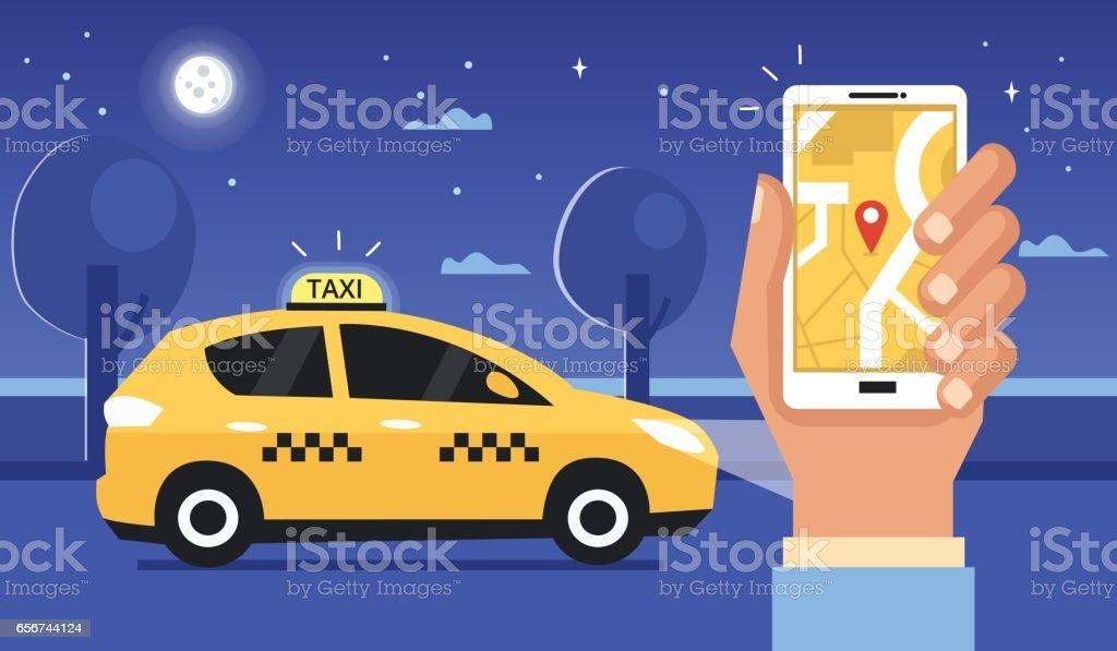 Taxi at night vector art illustration