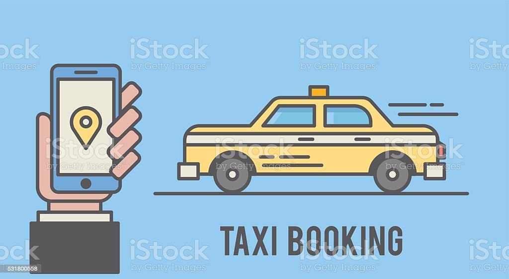 Taxi booking with mobile phone interface. Flat line styled illustration vector art illustration