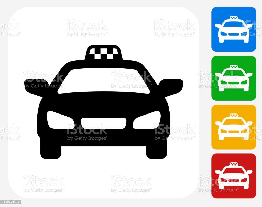 Taxi Cab Icon Flat Graphic Design vector art illustration